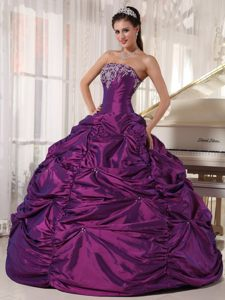 Appliqued Eggplant Purple Quinces Dresses with Pick ups on Sale