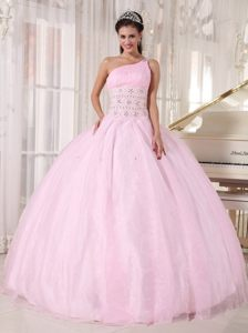 Baby Pink One Shoulder Quinces Dresses with Beading and Ruches