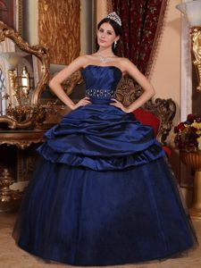 Beading and Pick ups Accent Organza Quinces Dresses in Navy Blue