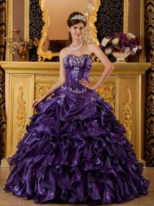 Dark Purple Sweetheart Quinces Dresses with Appliques and Ruffles