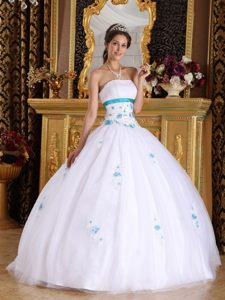Redondo Beach CA White Quinceanera Dresses with Blue Appliques