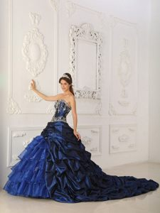 Appliqued and Ruffled Navy Blue Quinceanera Dresses with Train