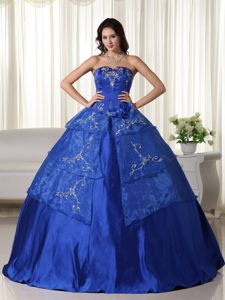 Rancho Cucamonga CA Embroidery Accent Royal Blue Quince Gown