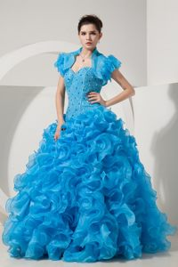Ruffled and Beaded Baby Blue Organza Dresses for Quinceanera
