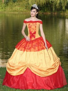 Yellow and Red Off Shoulder Dress for Quinceanera with Embroidery