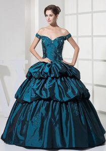 Teal Off Shoulder Prom Party Dress with Appliques and Pick Ups