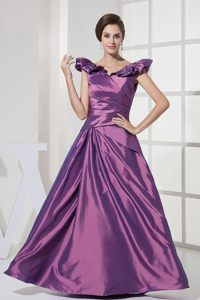Claremont CA Purple A-line V-neck Prom Party Dress with Ruffles