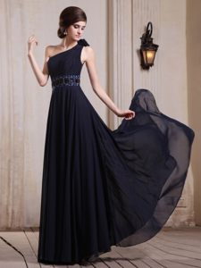 Beading and Flower Accent One Shoulder Navy Blue Prom Party Dress