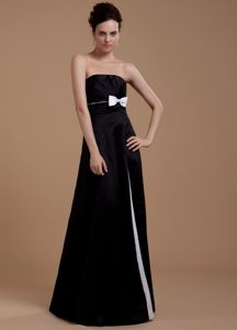 Black Floor Length Prom Celebrity Dress with Bowknot and Ruches