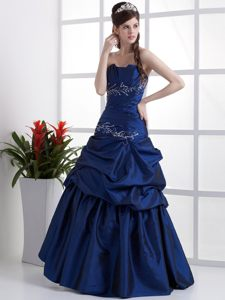 Ruched Royal Blue Prom Party Dress with Appliques and Pick Ups