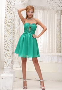 Turquoise Mini Length Prom Graduation Dress with Beading Cutouts