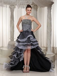 White and Black High-low Prom Graduation Dress with Ruffled Layers