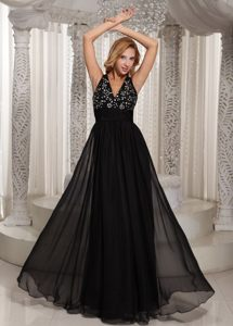 Black V-neck Chiffon Prom Holiday Dress with Beading and Ruches
