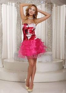 Hot Pink Sweetheart Mini Prom Holiday Dress with Print and Layers