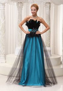 Teal and Black Prom Evening Dress with Appliques and Feathers