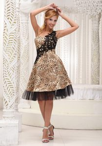 Lace Appliques Accent One Shoulder Leopard Prom Evening Dresses