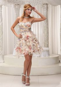 Printed and Beaded Mini Length Prom Evening Dress with Ruffles