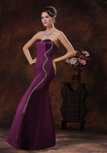Beading Decorate Sweetheart Prom Evening Dress in Dark Purple