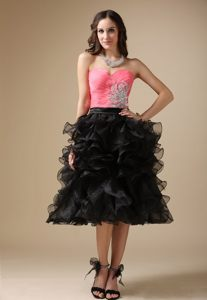 Ruffled Beaded Tea Length Prom Gown Dress in Watermelon and Black
