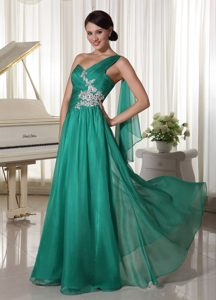 Appliqued and Ruched Turquoise One Shoulder Prom Formal Dresses