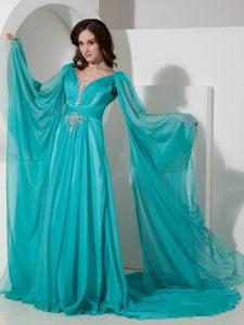 Turquoise Empire Watteau Train Prom Gown Dress with Long Sleeves