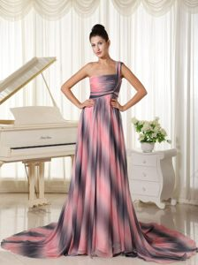 Ombre Color One Shoulder Prom Gown Dress with Court Train 2014
