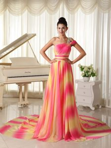 Beaded One Shoulder Ombre Color Prom Dresses with Court Train
