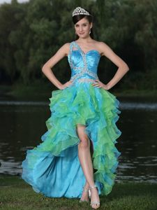 Blue and Bud Green One Shoulder High-low Beaded Ruffled Prom Dress