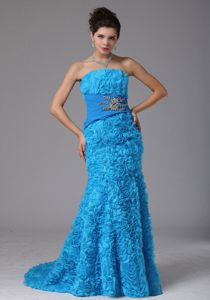 Baby Blue Mermaid Prom Dresses with Beading and Rolling Flowers