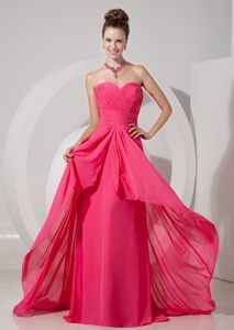 Sweetheart Brush Train Ruched Chiffon Prom Dresses in Coral Red