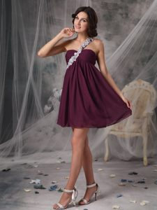 Appliqued One Shoulder Dark Purple Chiffon Mini Length Prom Gown