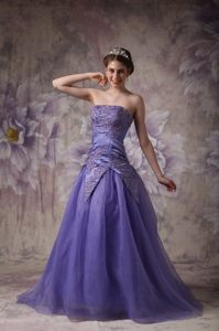 Camarillo CA Appliqued Purple Organza Long Prom Formal Dresses