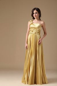 Gold One Shoulder Pleat Prom Gown Dresses Hand Made Flowers