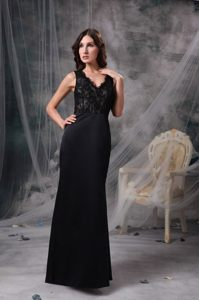 Trendy Prom Evening Dress V-neck with the Back out Floor-length
