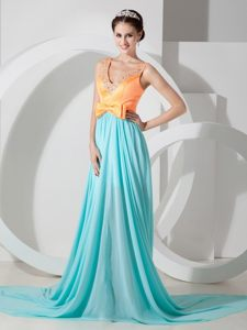 Orange and Blue V-neck Prom Formal Dress Beading and Bowknot