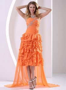 High-low Ruffled Beaded Orange Prom Graduation Dress online