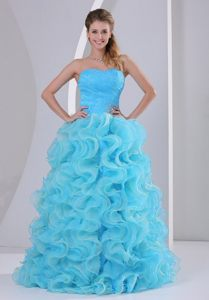 Girly Aqua Blue Ruffled Beaded Prom Dresses in Leicestershire