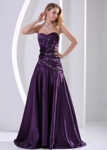 Elegant Ruched Prom Gowns Beading with Hand Made Flowers