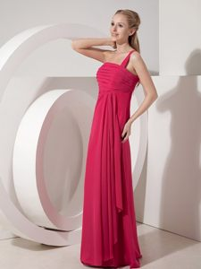 Attractive Red Prom Gown Dress by Chiffon with One Shoulder