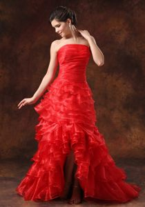 Strapless High-low Ruffled Layers Red Prom formal Dress for 2014
