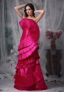 Unique Hot Pink Fan-shaped Decorate Pleated Long Prom Dress