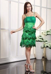 inexpensive Spaghetti Straps Appliqued Beaded Green Prom Dress