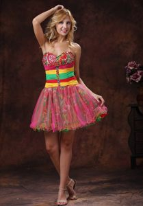 Multi-colored Sweetheart Puffy Mini Prom Graduation Dresses