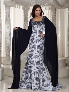 Printing Square Neck Long Sleeves White and Black Prom Dress