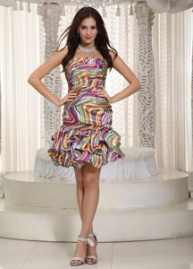 Discount Strapless Colorful Striated Mini Prom Graduation Dress