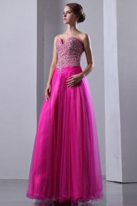Beautiful Lace-up Sweetheart Beaded Hot Pink Prom formal Dress