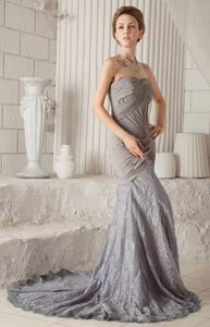 Lace Chiffon Court Train Ruched Gray Prom Dress on Promotion