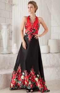 Brush Train Printing Black and Red Prom Dress with The Back Out