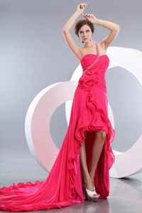 Beaded Ruched one Shoulder High-low Coral Red Prom Dress
