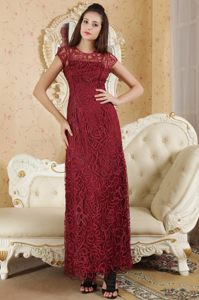 Bateau Neck Short Sleeves Wine Red Prom Dresses Special Fabric